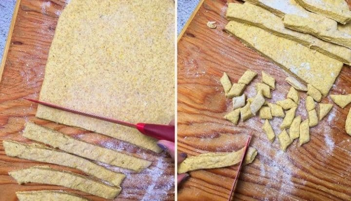 knife cutting flattened dough into strips and then gnocchi bites