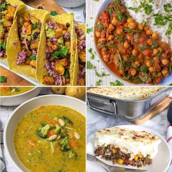 vegan dinner recipe collage: tacos, curry, soup, shepherd's pie
