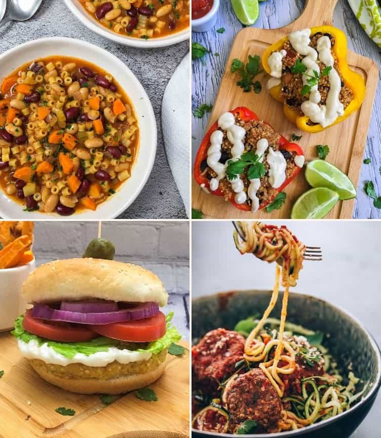 vegan dinner recipe collage: pasta e fagioli, stuffed peppers, burger, zoodles