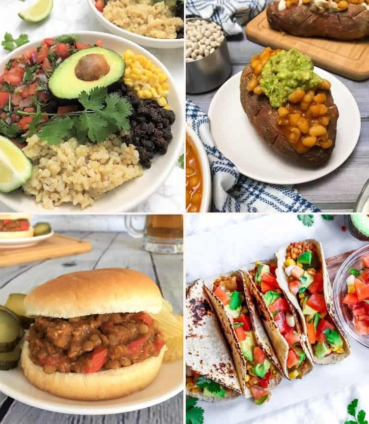 collage of vegan dinner recipes