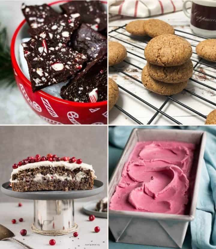 collage of desserts: christmas bark, cookies, carrot cake and cranberry ice cream