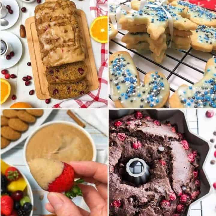 collage of desserts: orange cranberry bread, shortbread cookies, gingerbread dip, chocolate cranberry cake