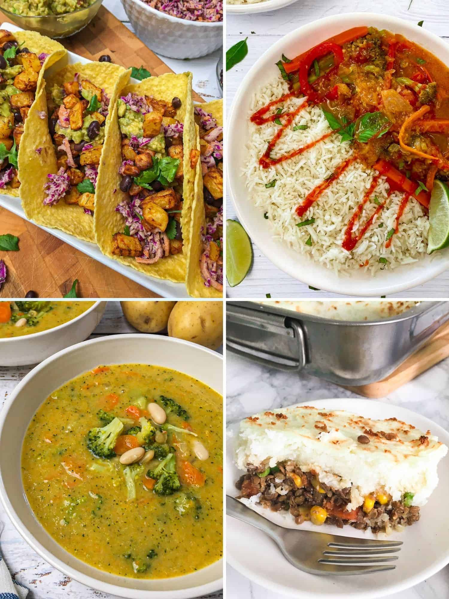 Collage of 4 vegan dinner recipes: tacos, curry, soup, shepherd's pie.