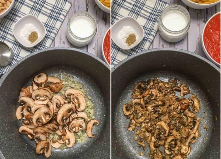 sauteing mushrooms in large pot