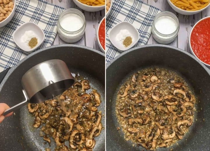 pouring vodka into pot of sauteed mushrooms