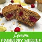 vegan cranberry muffins PIN with text overlay.