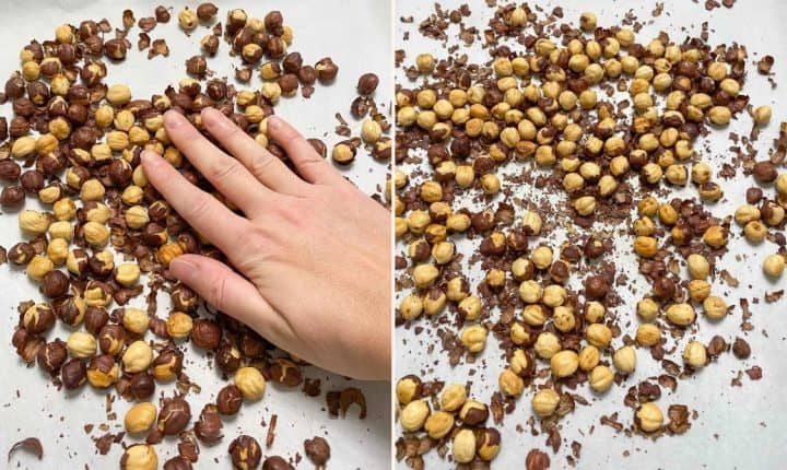 removing skin from roasted hazelnuts