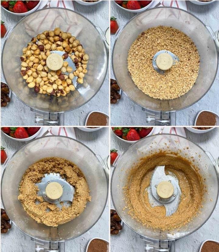 hazelnuts in food processor, blending into hazelnut butter