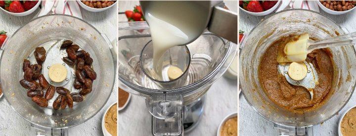 blending dates and milk in food processor