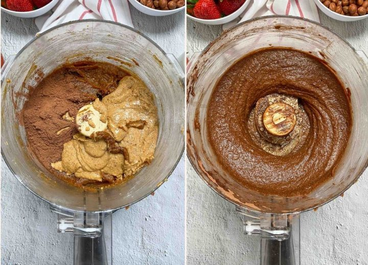 nut butter and cocoa powder and date paste in food processor to make nutella