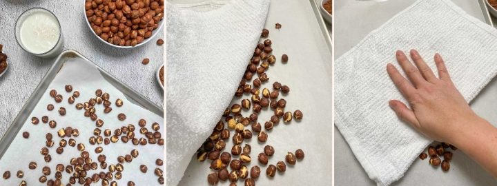 dish towel over roasted hazelnuts to remove skin