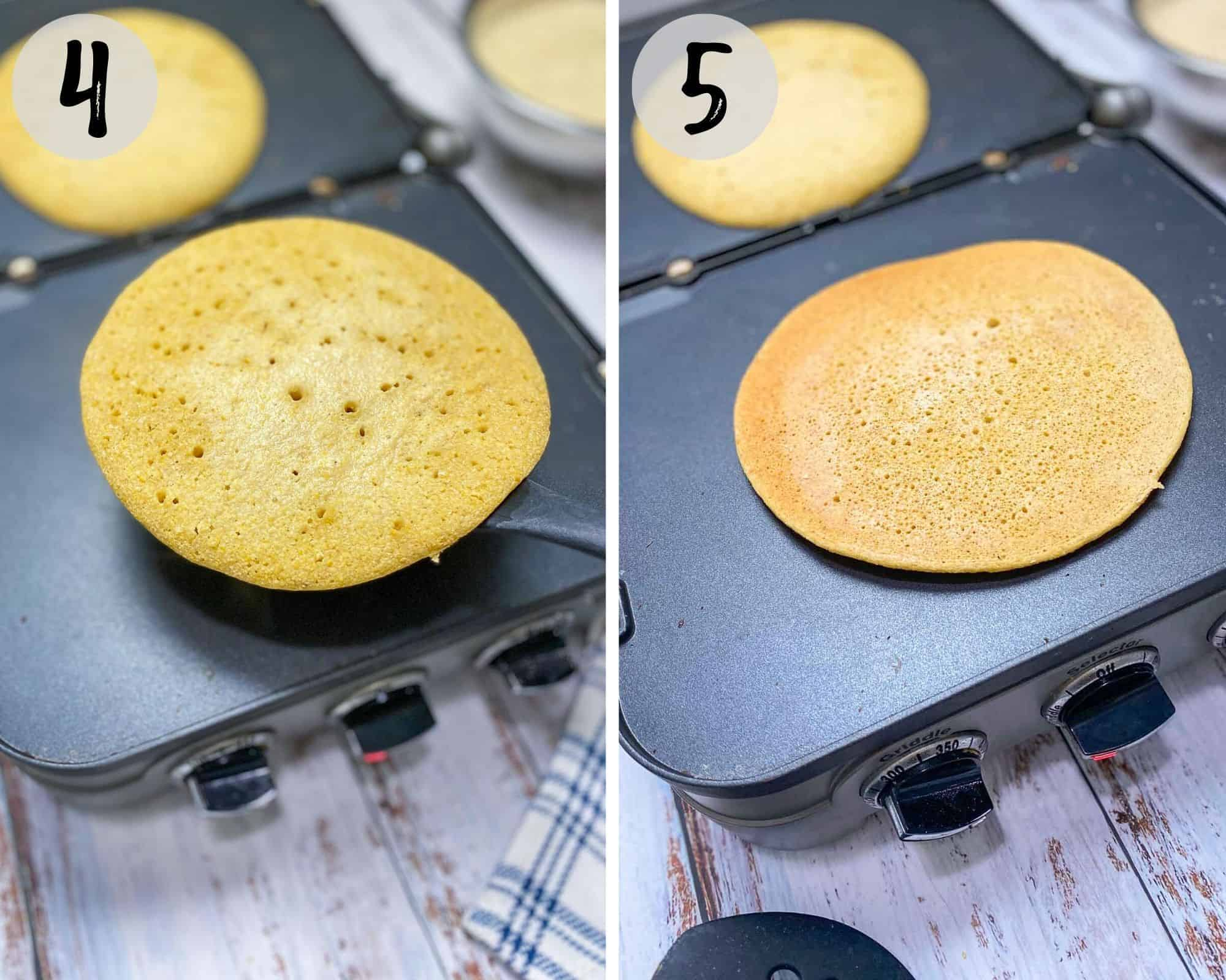 flipping socca on nonstick griddle