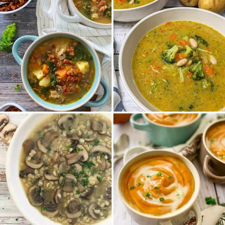 Collage of vegan soup recipes: zuppa toscana, broccoli soup, mushroom, sweet potato.
