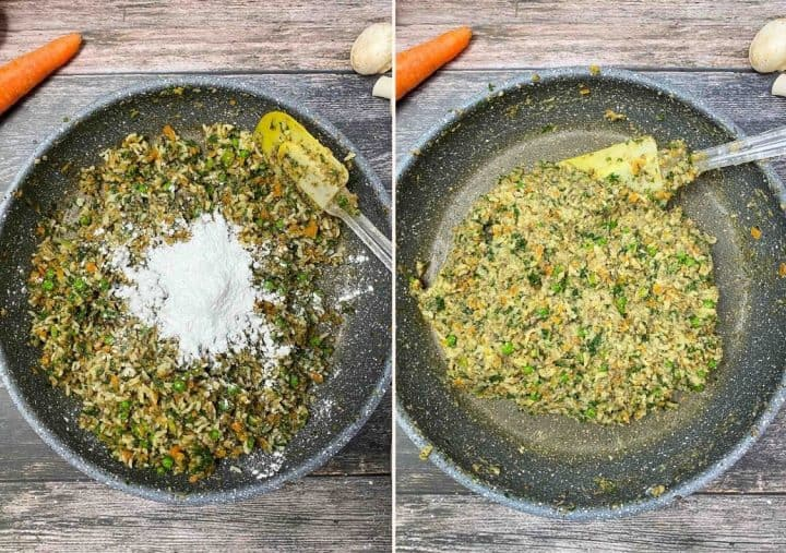 skillet with finely chopped vegetables