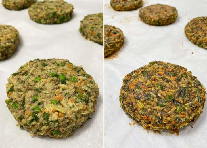mushroom risotto burgers on baking tray before and after baking