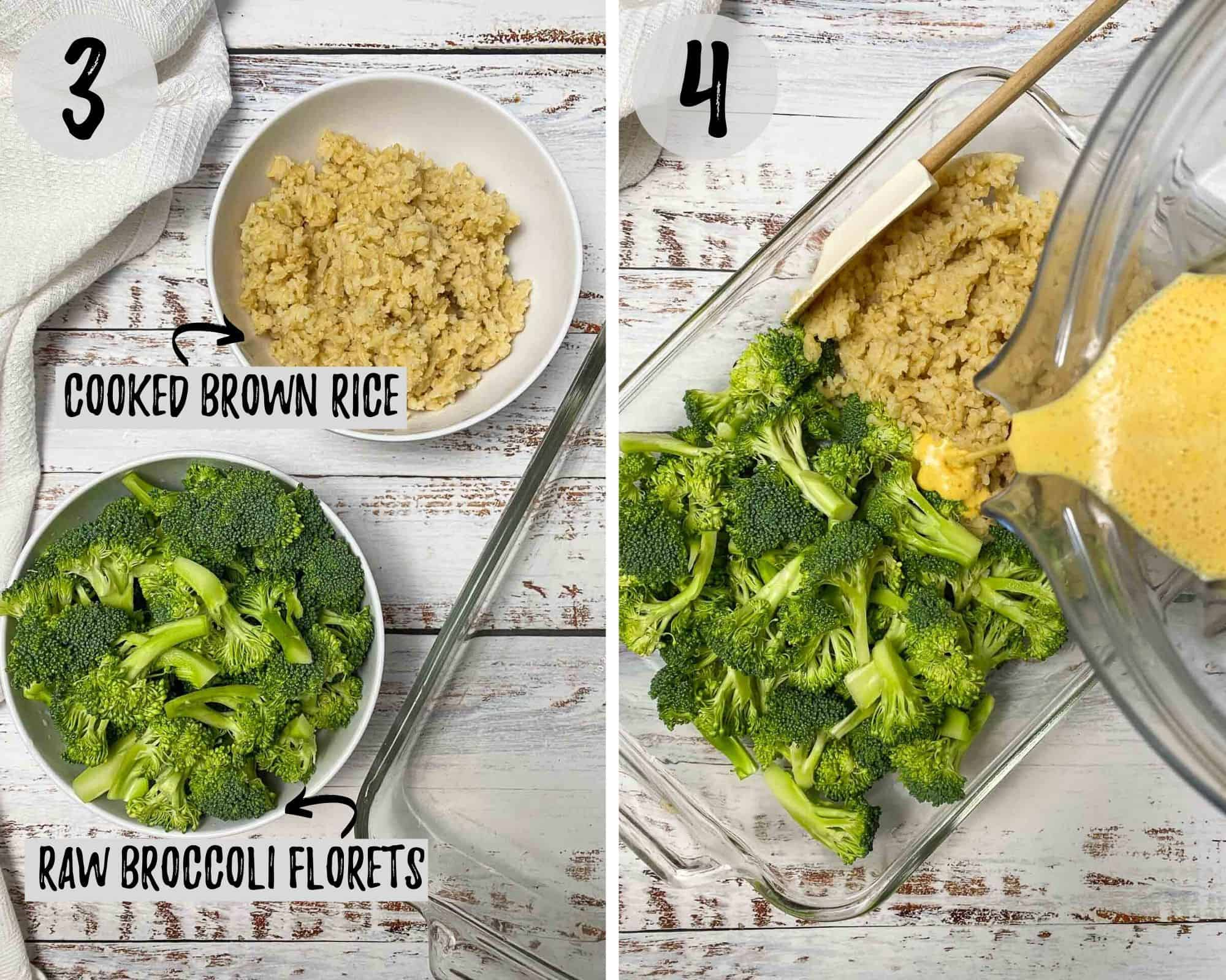 pouring vegan cheese sauce into dish with broccoli and rice