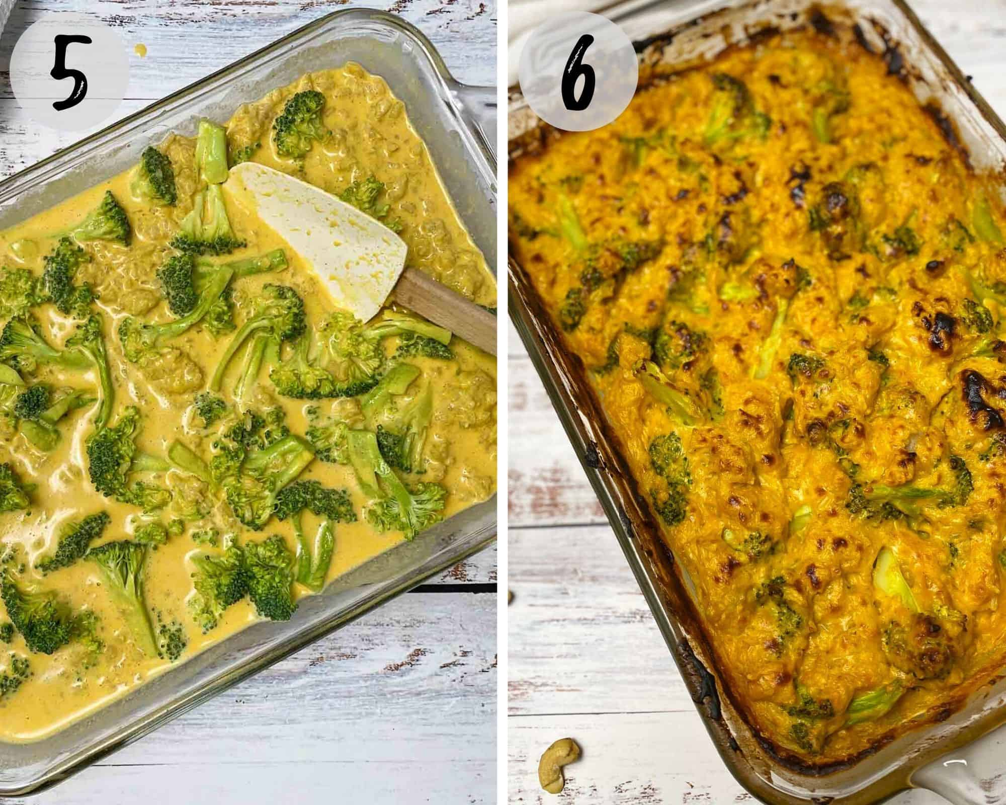 cheesy broccoli casserole in glass baking dish, before and after baking