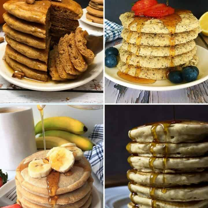 Collage of pancake stacks with syrup dripping down sides.