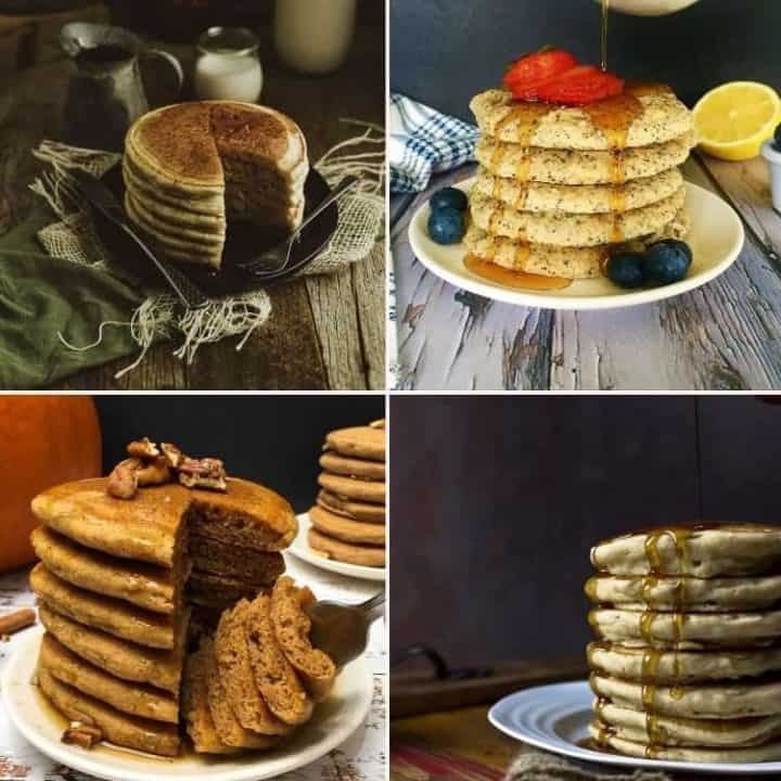 collage of pancakes stacked high in a plate
