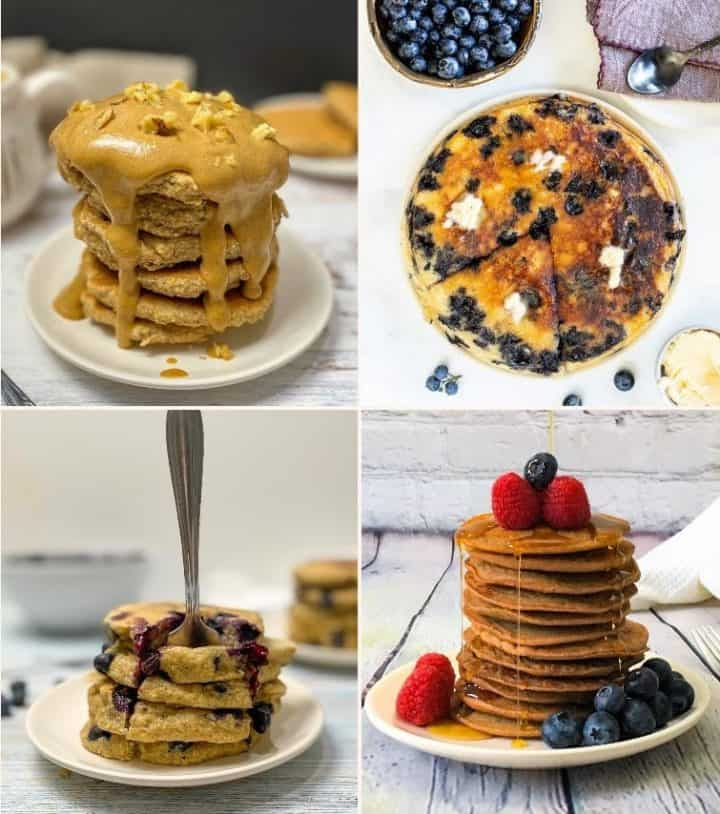 four images in collage featuring stacks of vegan pancakes piled high on a plate