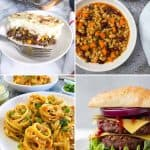 collage of 4 recipes: shepherd's pie, pasta and beans, spaghetti, and a vegan burger