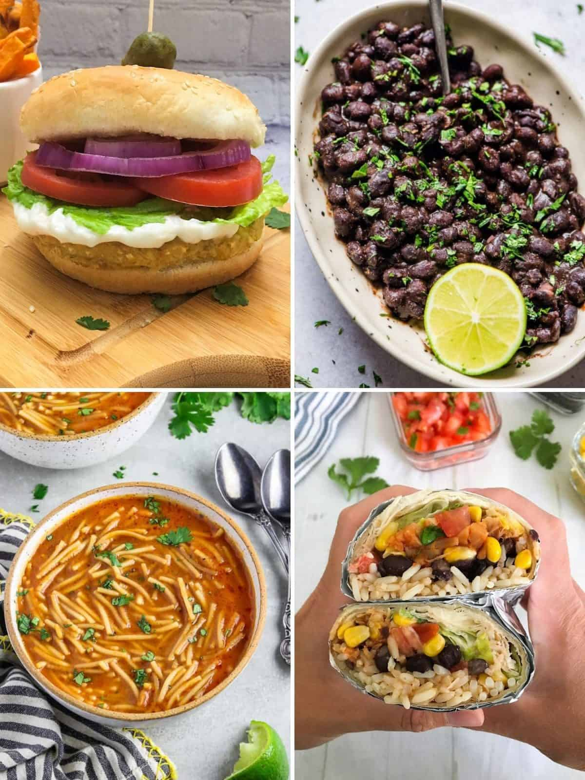 collage of 4 recipes: burger, black beans, noodle soup, burrito