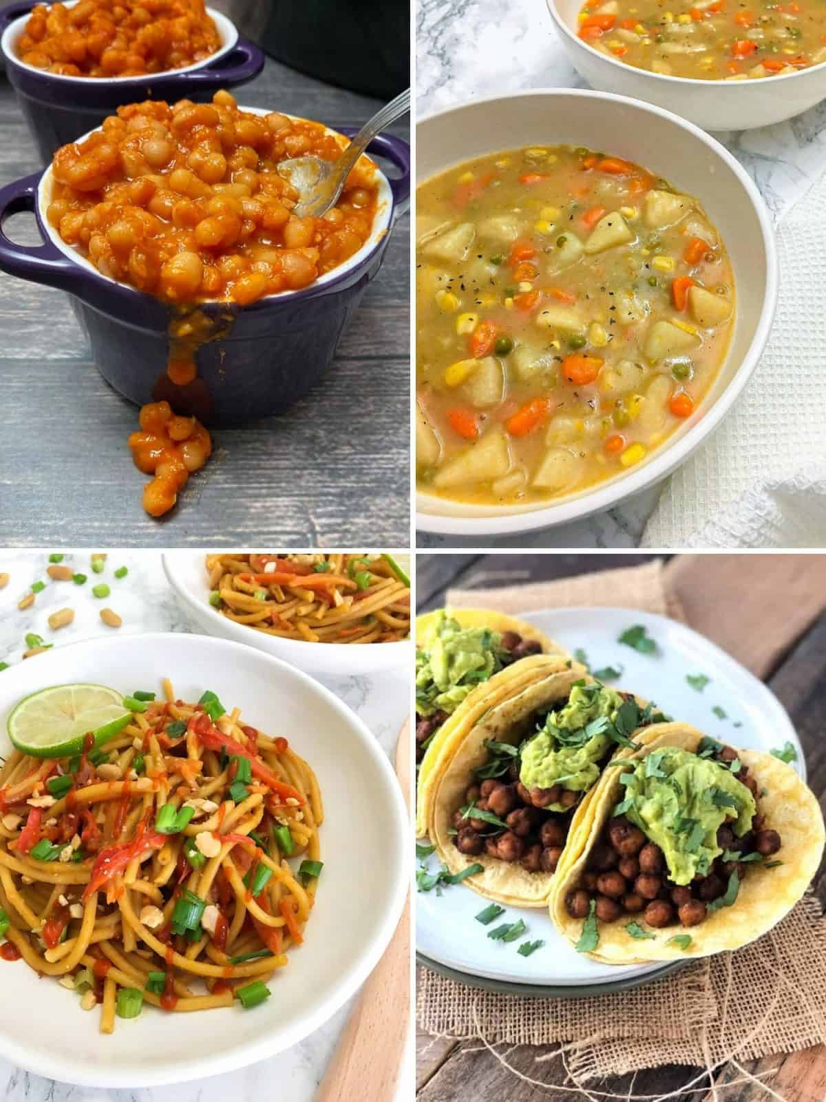 collage of 4 recipes: baked beans, potato soup, noodles with peanut sauce and chickpea tacos