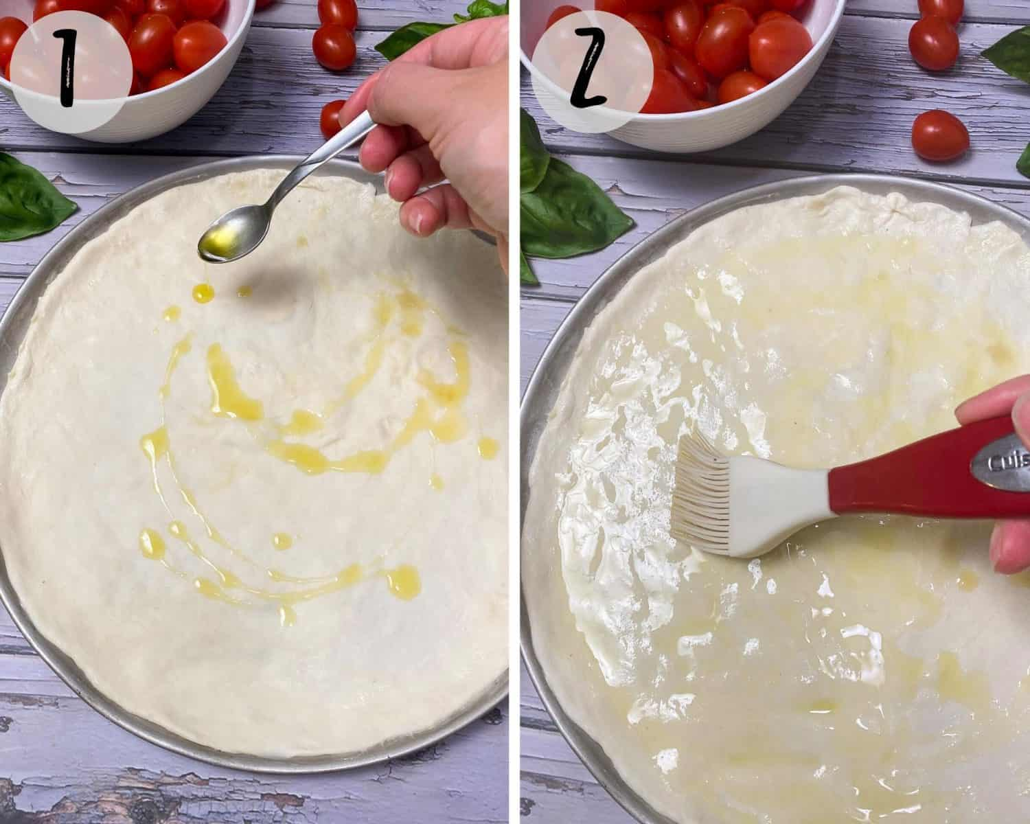 drizzling olive oil onto raw pizza dough and spreading it with silicone spatula