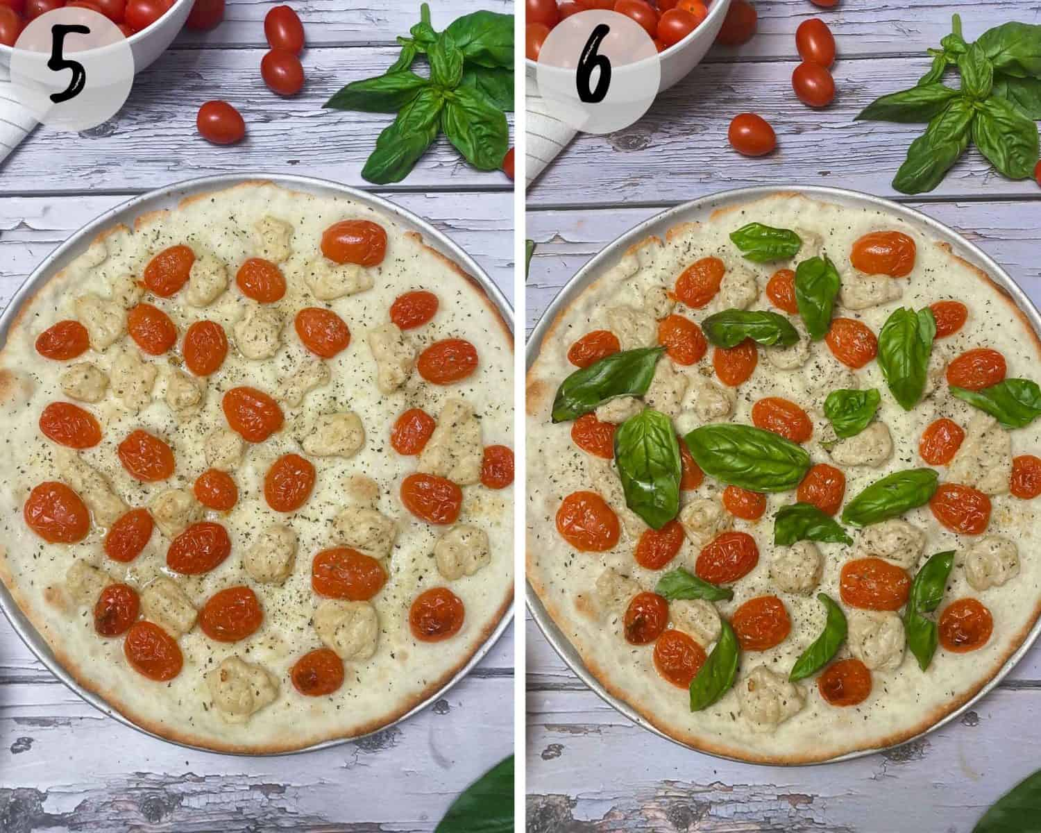 pizza dough with tomato and basil on top