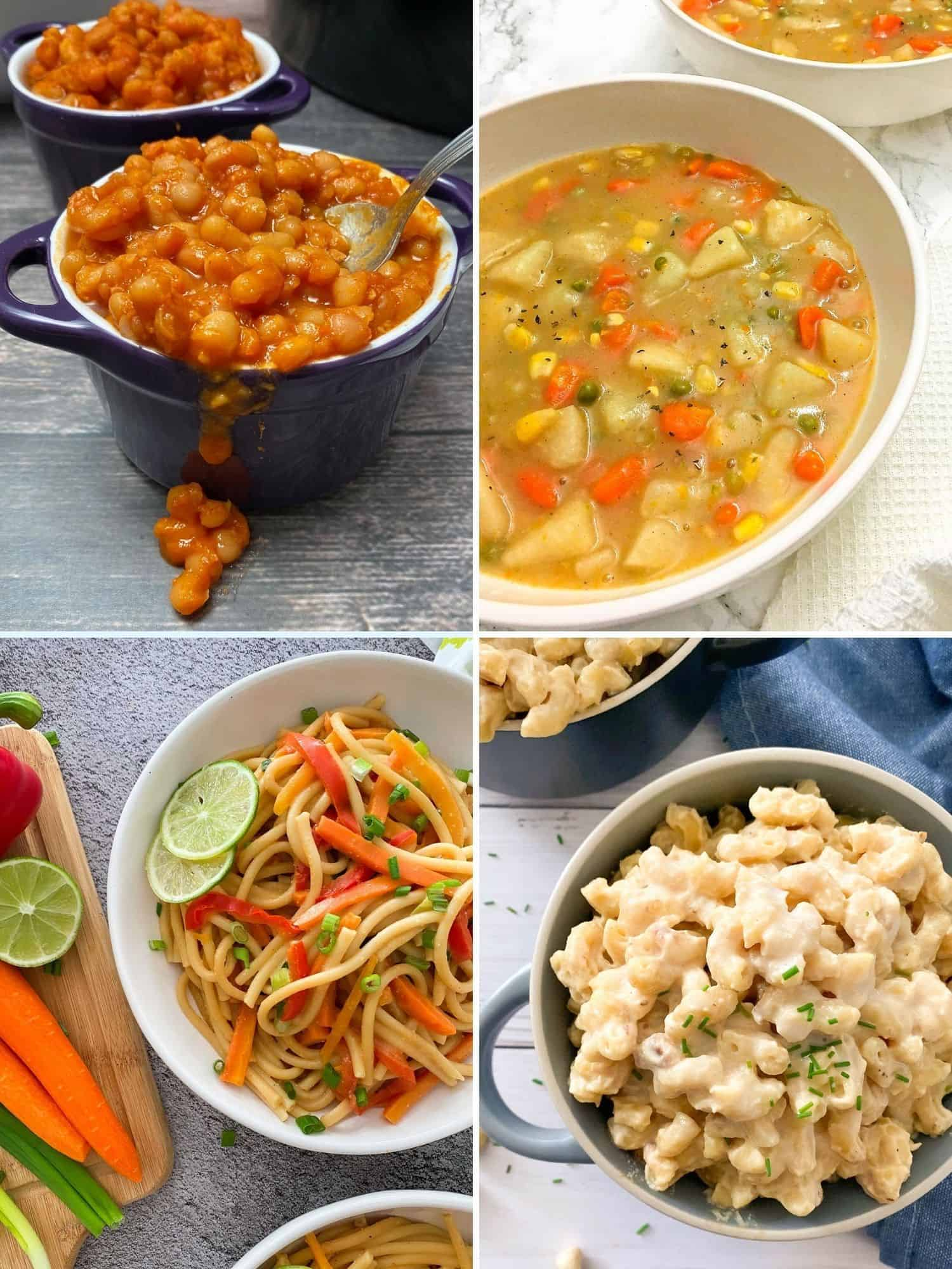 collage of 4 recipes: baked beans, veggie stew, thai noodles, mac and cheese.