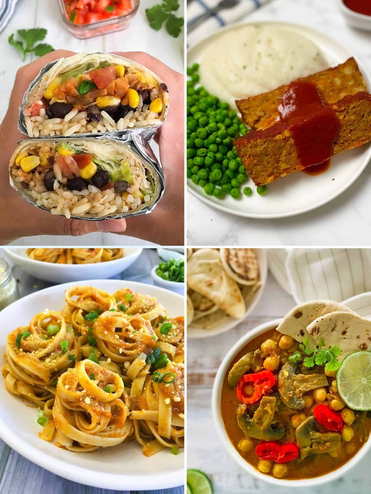 collage of 4 recipes: burritos, meatloaf, spaghetti, and a vegan curry.