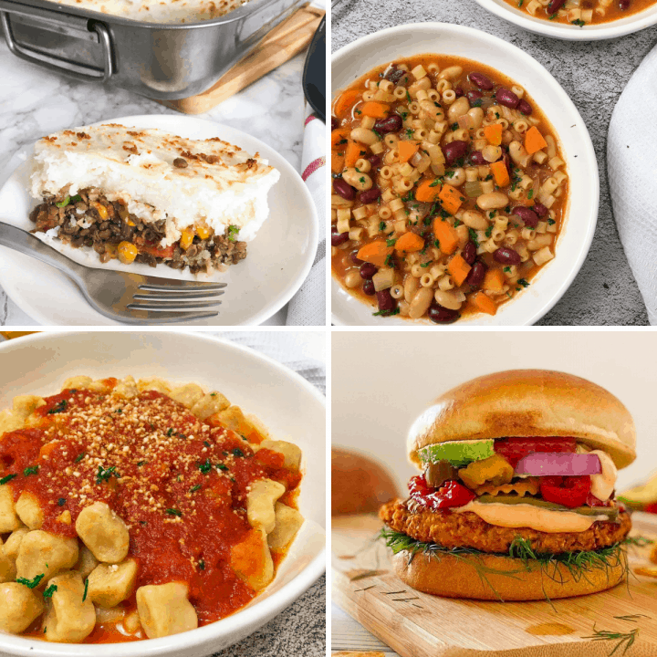 collage of 4 recipes: shepherd's pie, pasta and beans, gnocchi, and a vegan burger