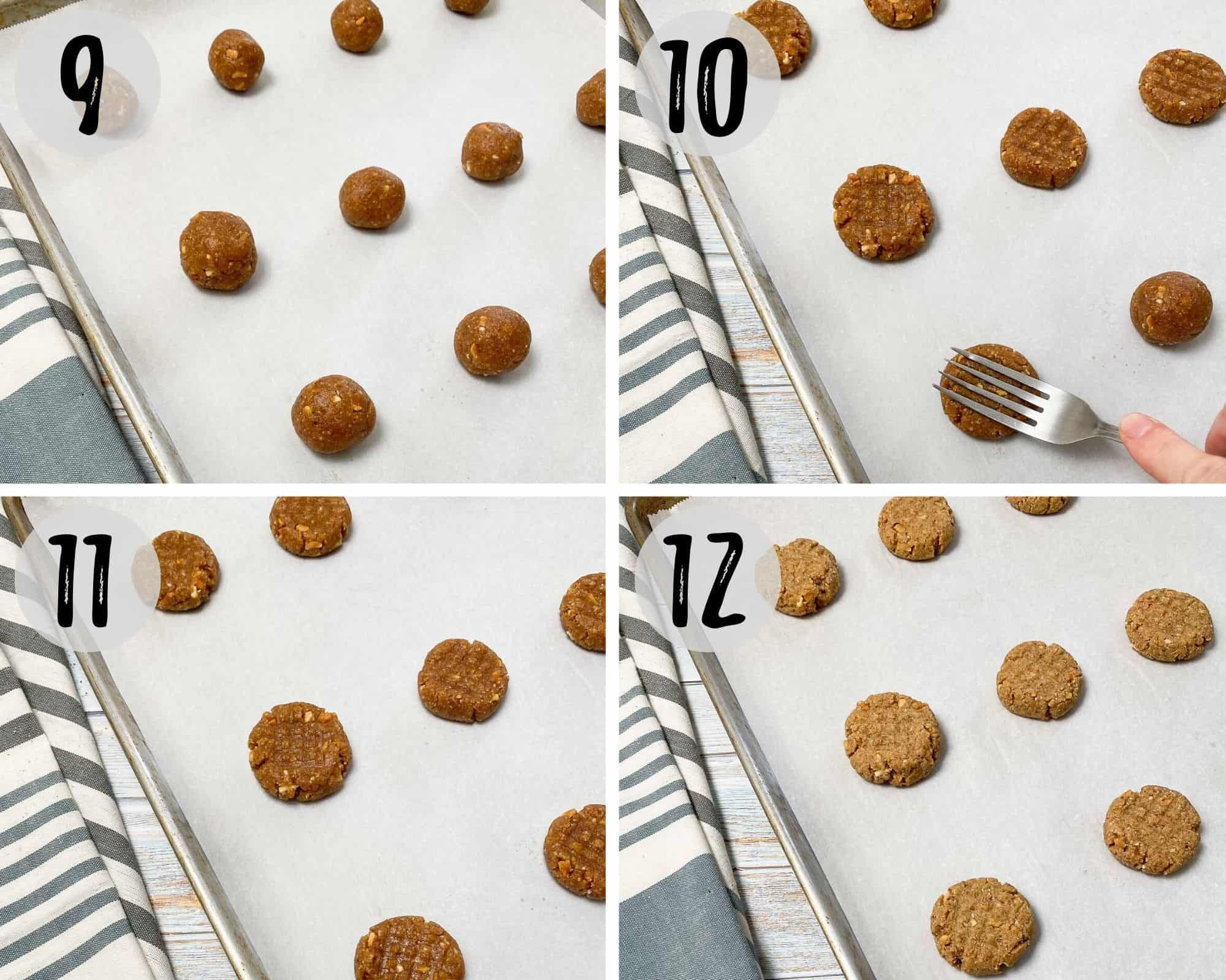 cookie sheet with almond flour peanut butter cookies before and after pressing down with a fork and before and after baking