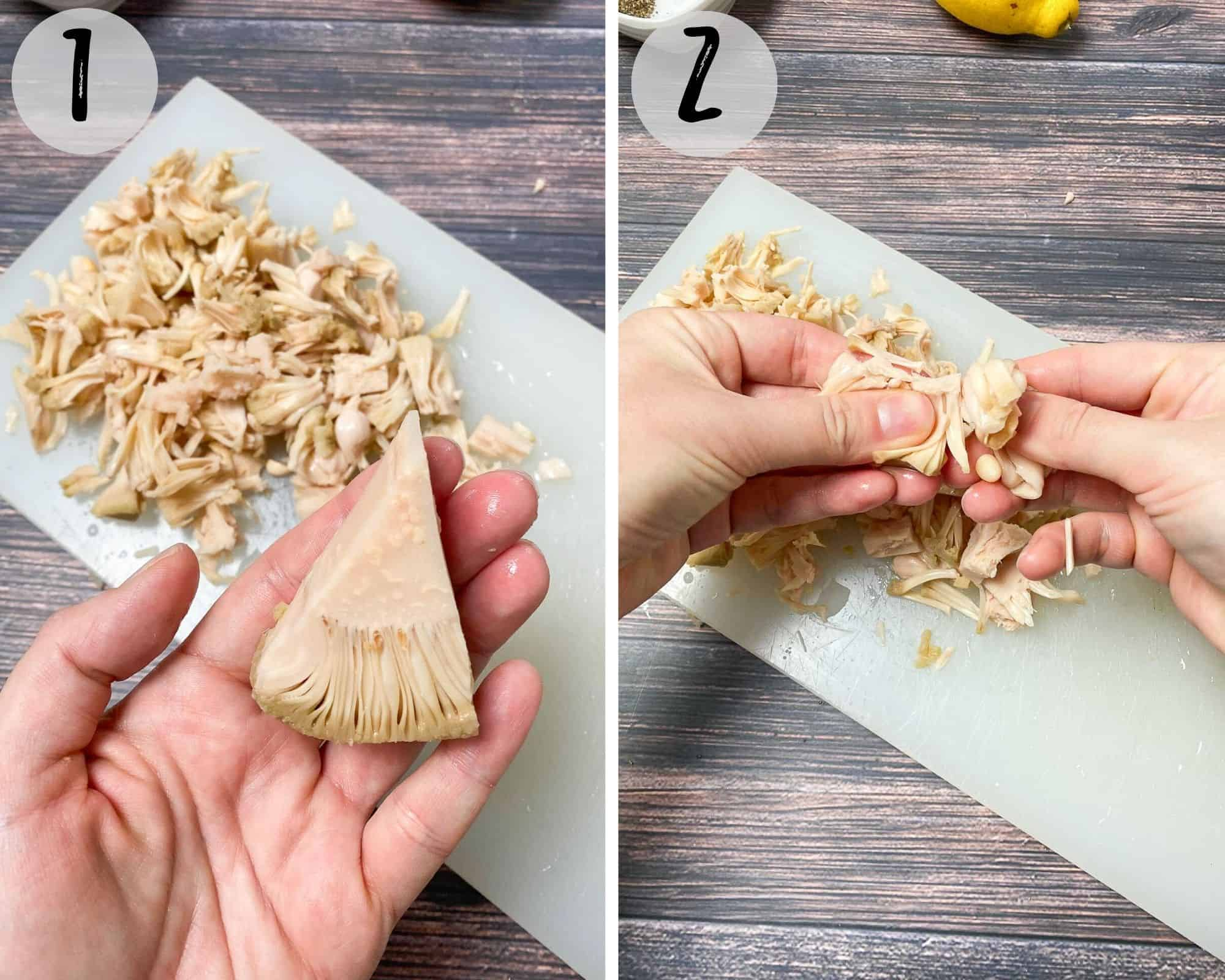 hand holding up jackfruit chunk and then pulling apart on cutting board