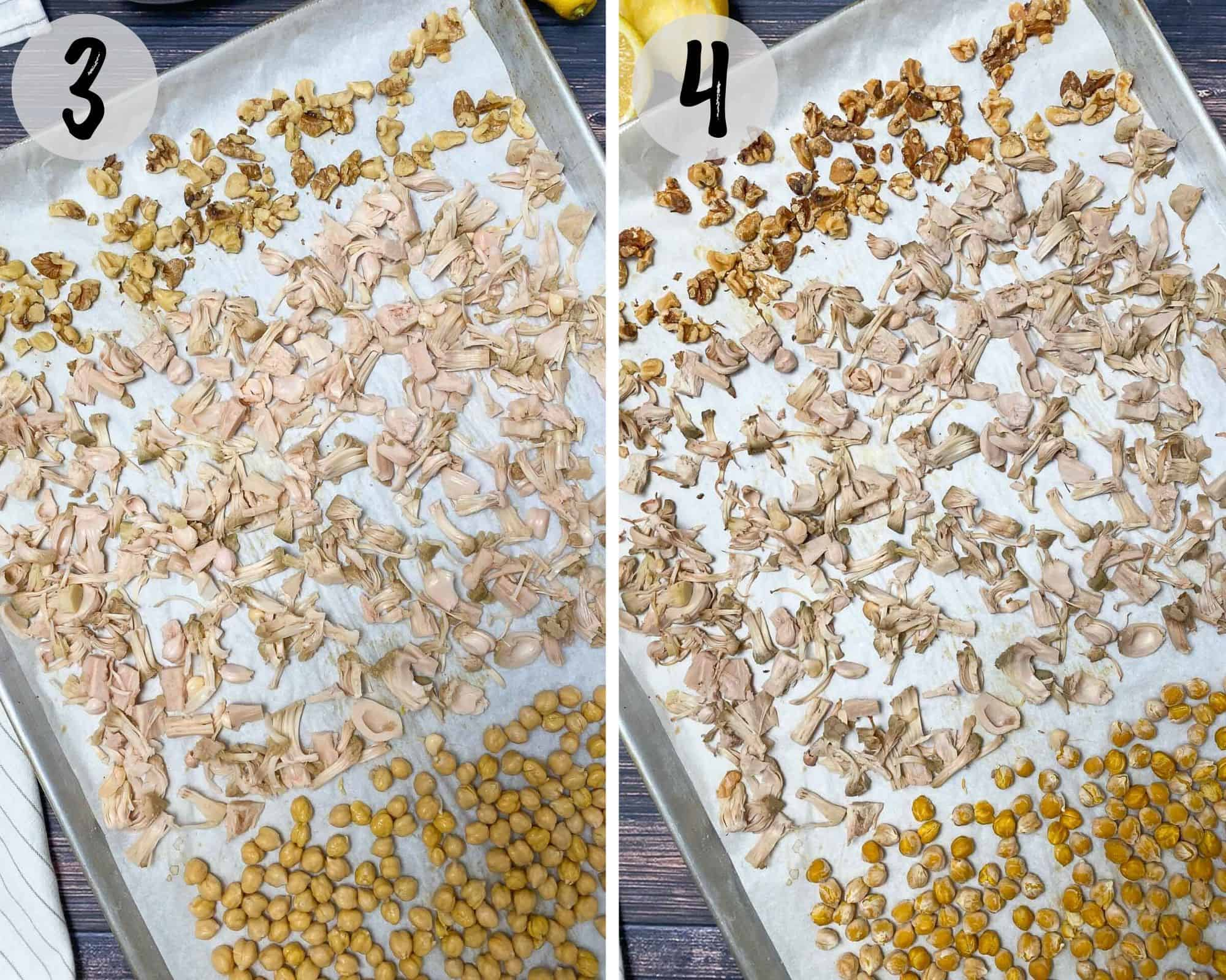 baking tray with shredded jackfruit, chickpeas and walnuts