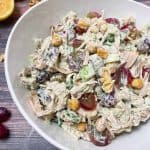 vegan chicken salad in white serving bowl with creamy dressing