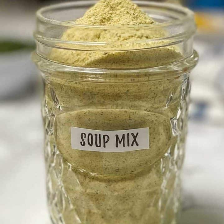 glass jar filled with powdery substance labeled soup mix