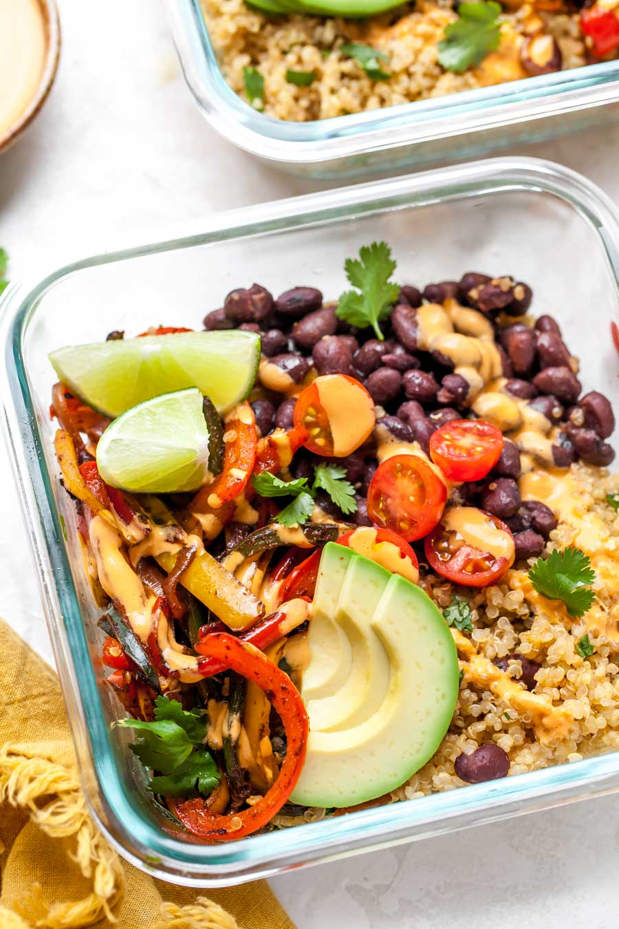 burrito bowl in a glass container for meal prep
