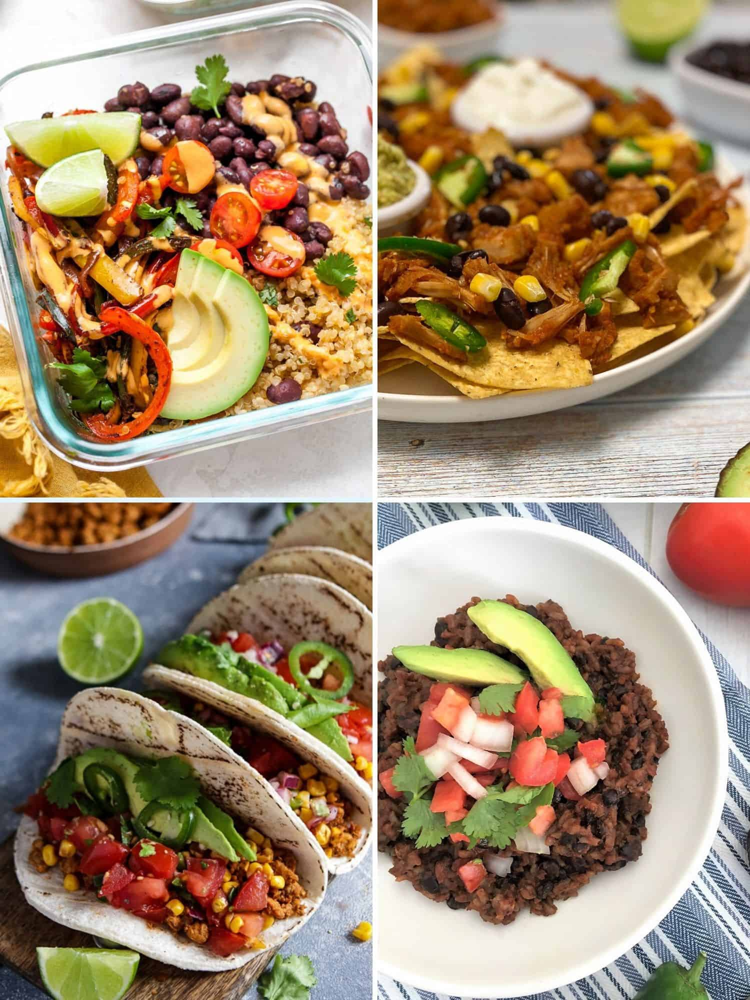 collage of vegan mexican recipes