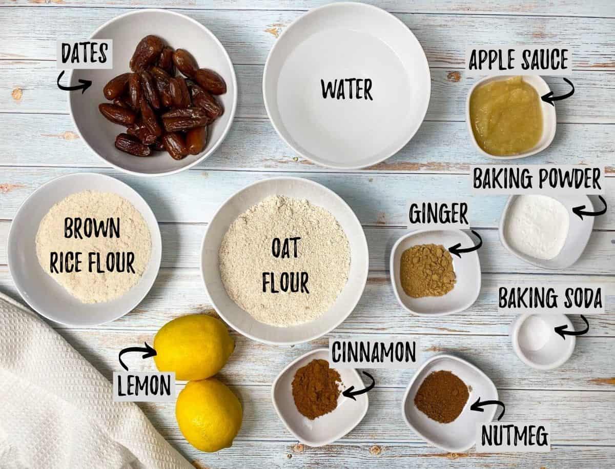 ingredients in bowls to make vegan lemon loaf