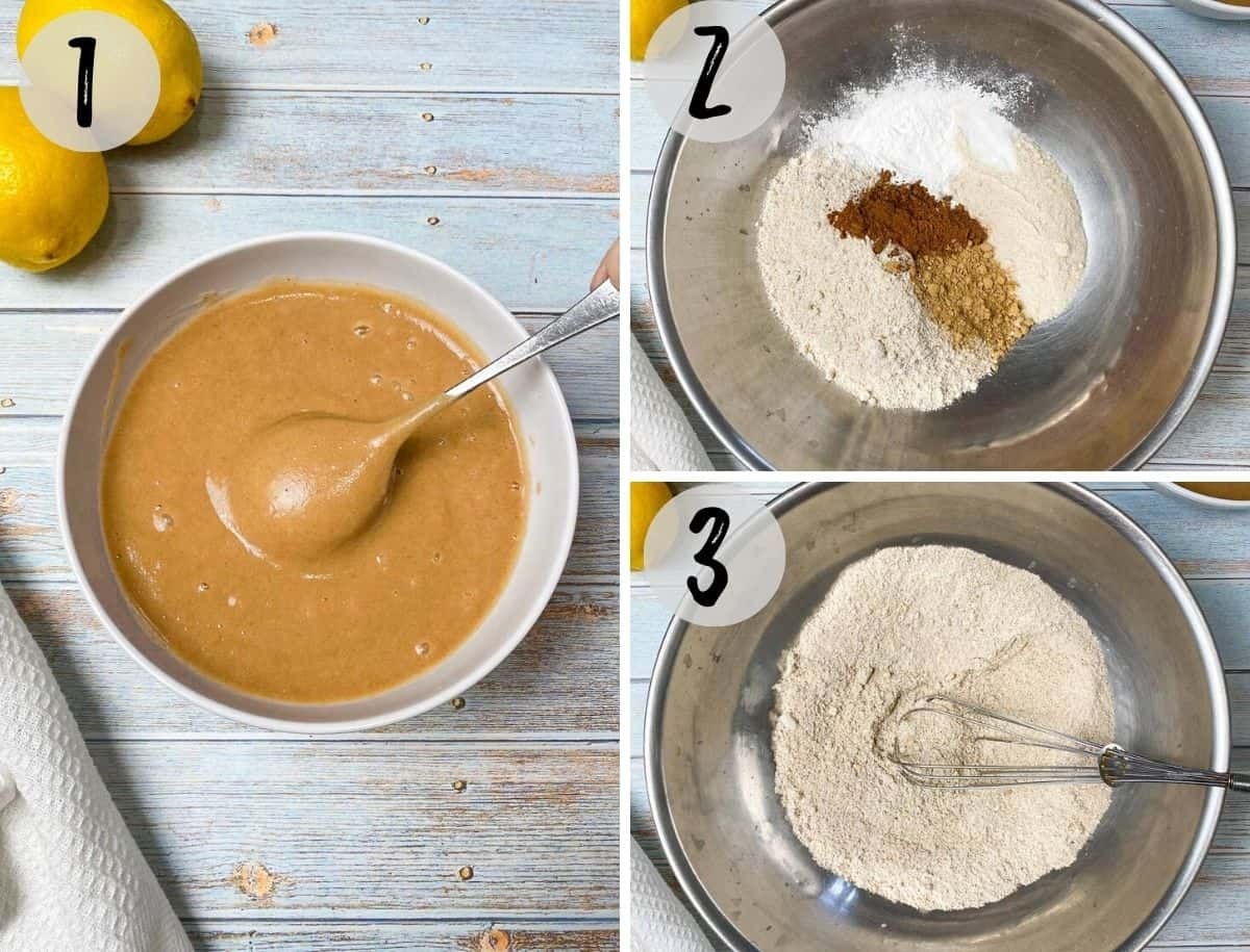 bowl of date syrup and bowl of dry ingredients to make lemon loaf