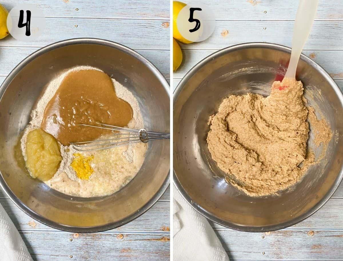 cake batter in mixing bowl