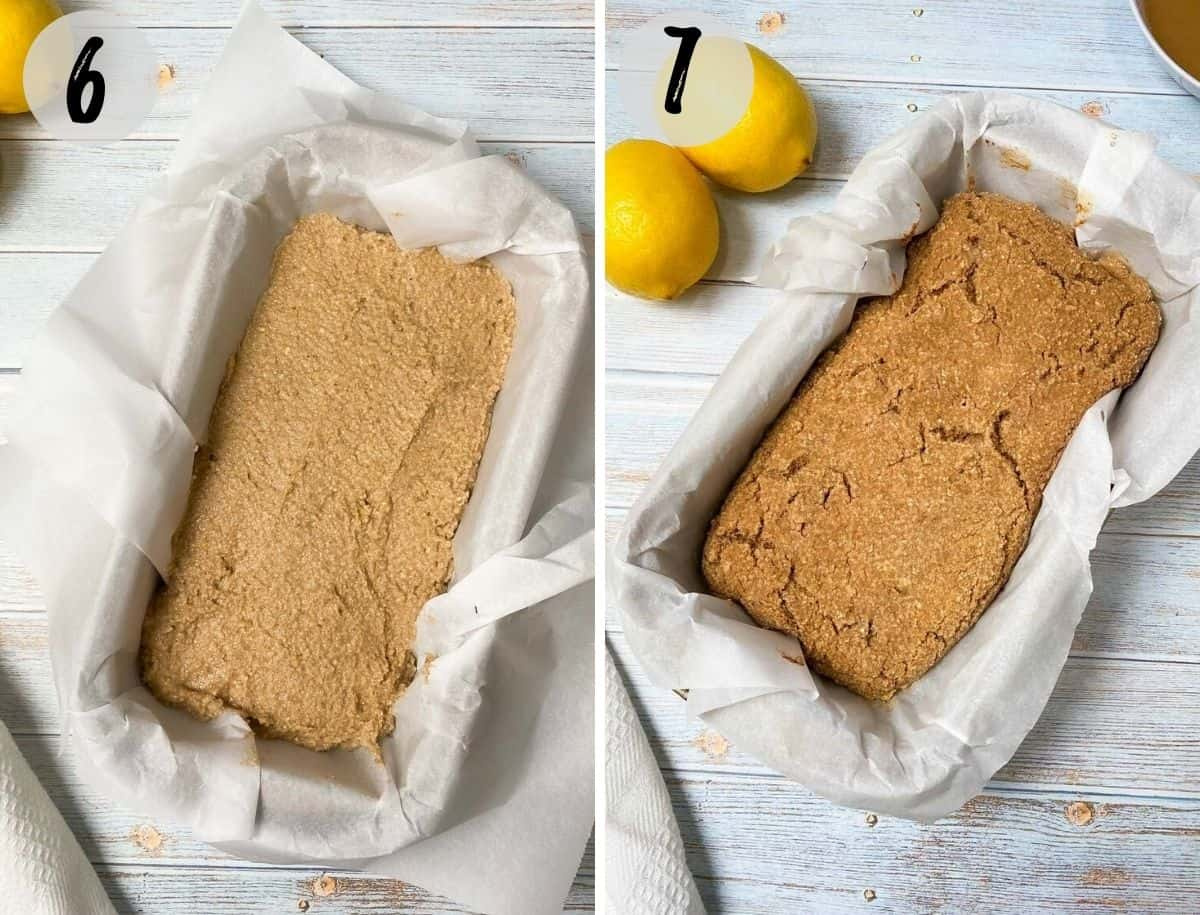 cake batter in loaf pan before and after baking