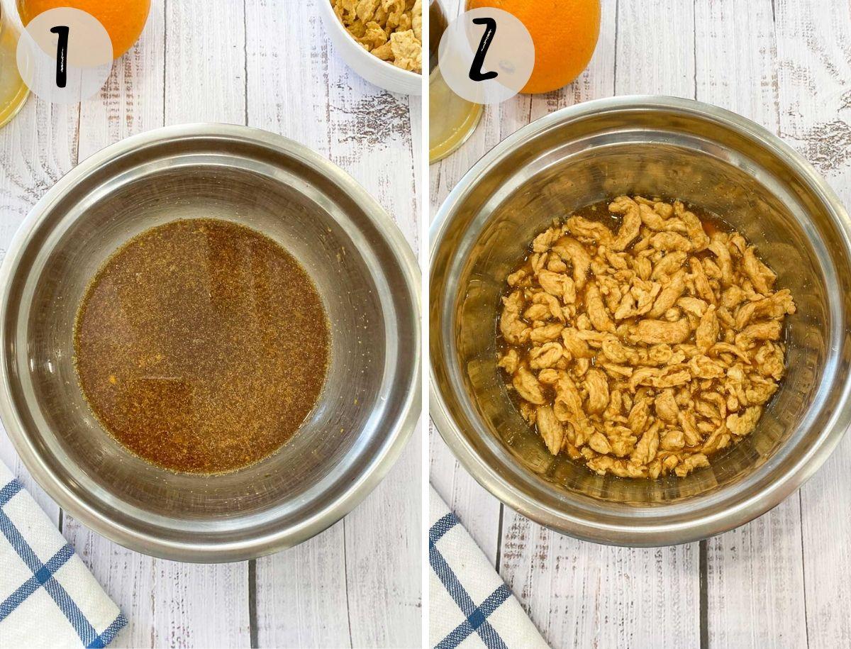 bowl of marinade and soy curls soaking