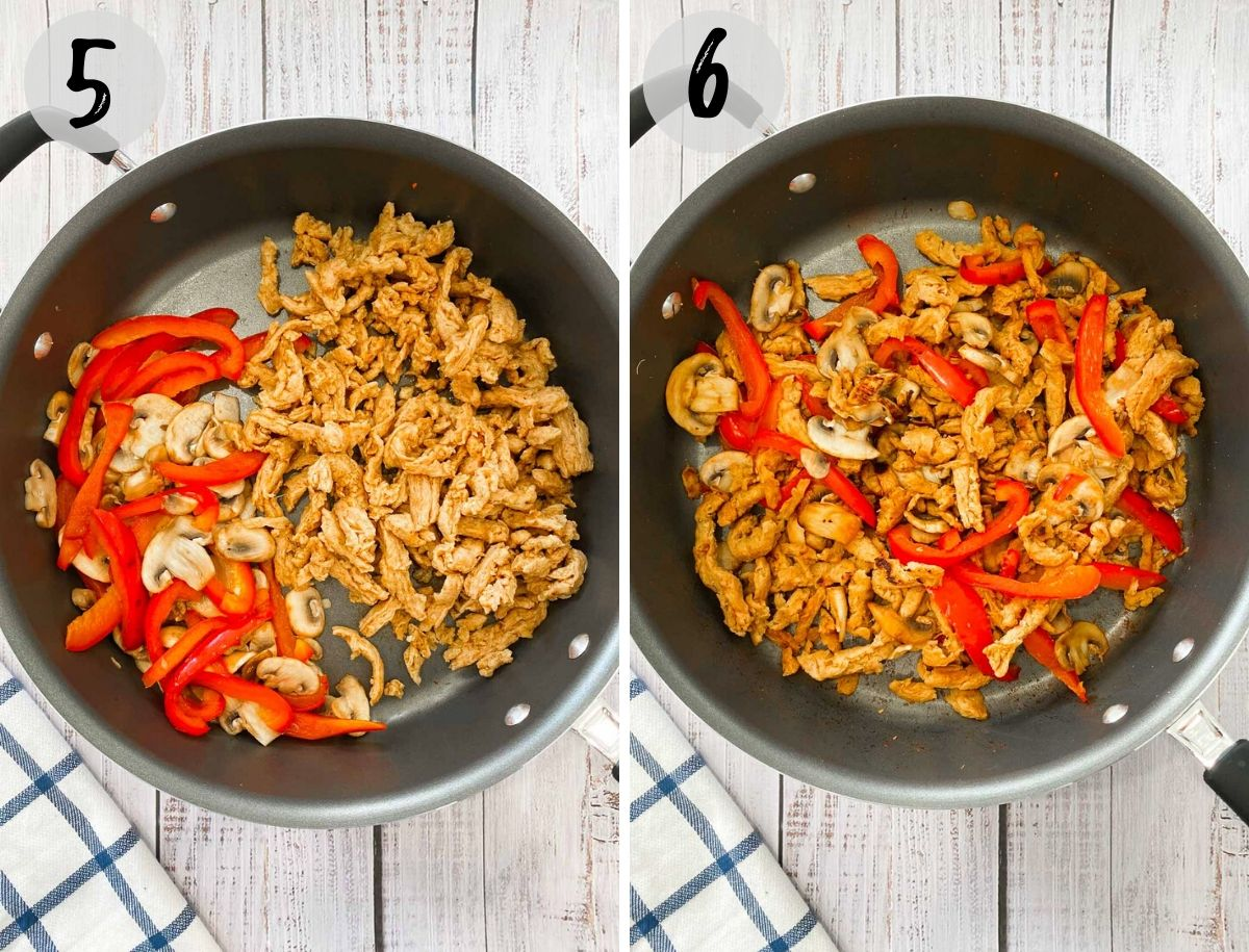 skillet with sautéed mushrooms, peppers and soy curls