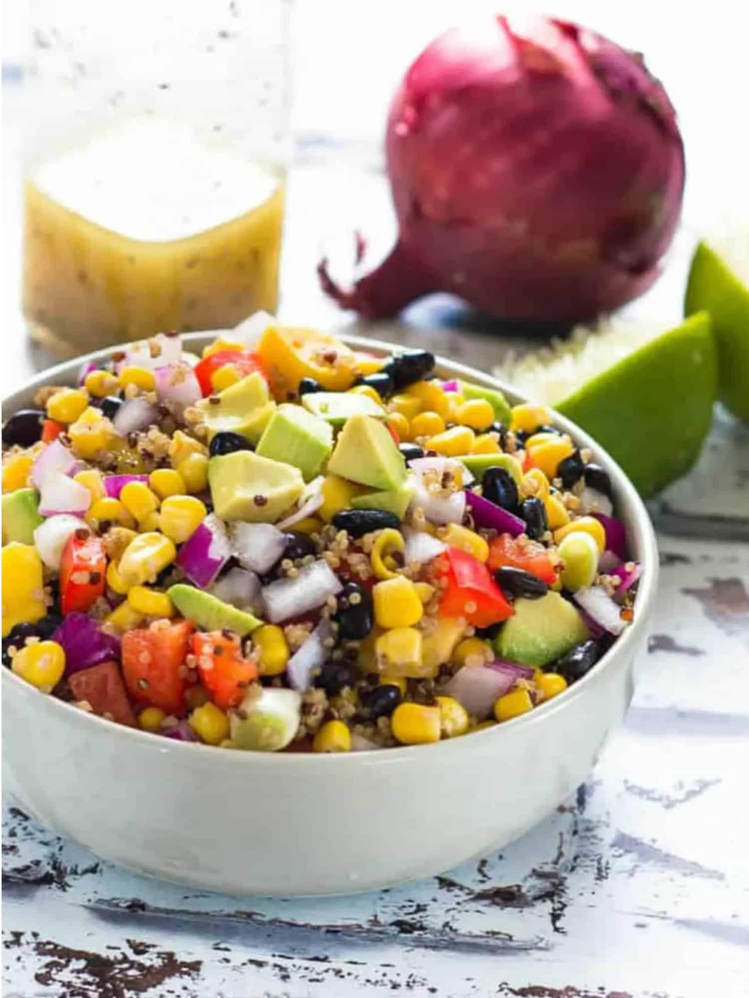white bowl of black bean and corn salad.