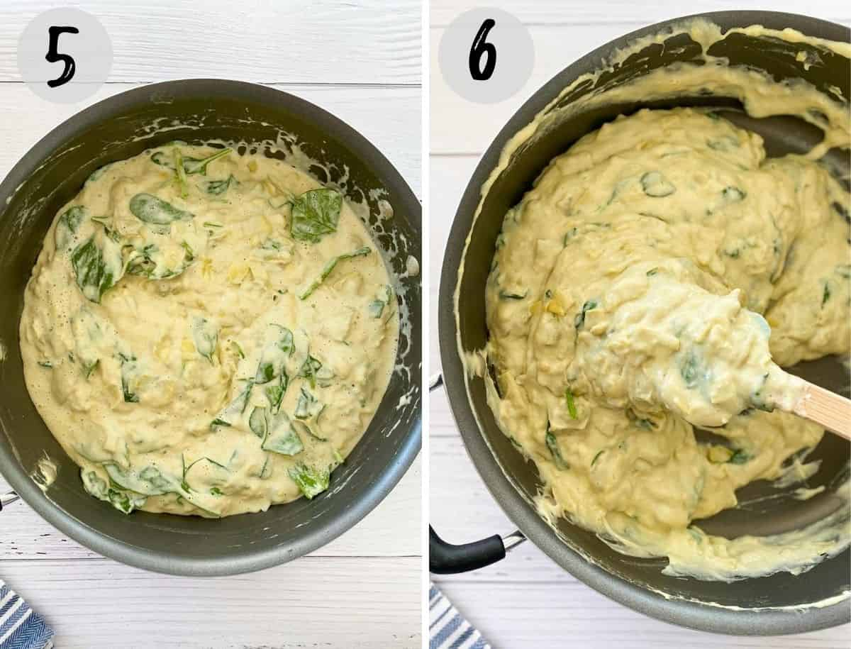 skillet with vegan spinach artichoke dip inside after cooking