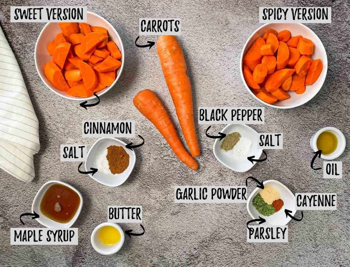 ingredients to make air fryer carrots in either spicy or sweet flavouring