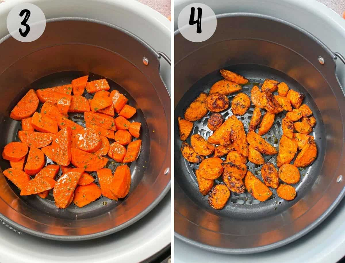 seasoned carrots inside air fryer before and after cooking