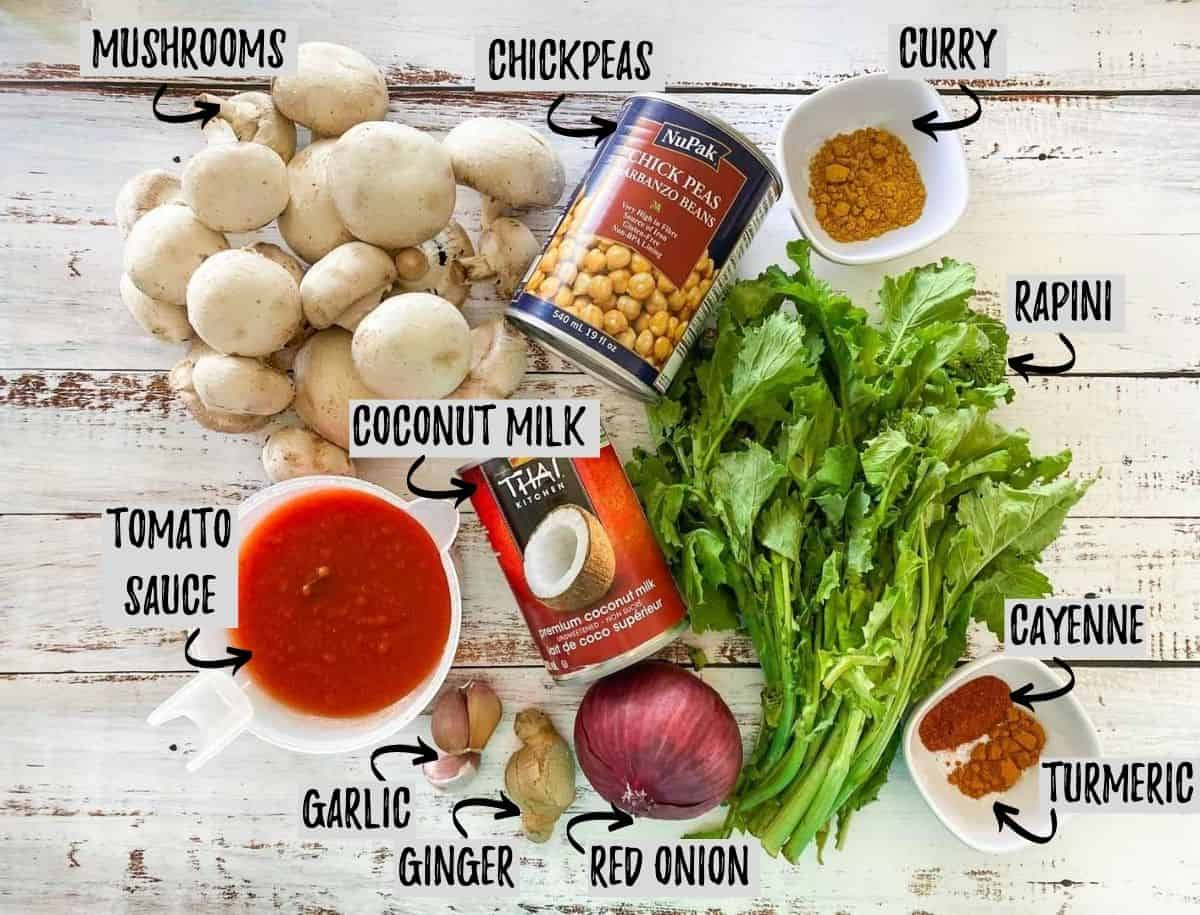 ingredients to make chickpea and mushroom curry dish